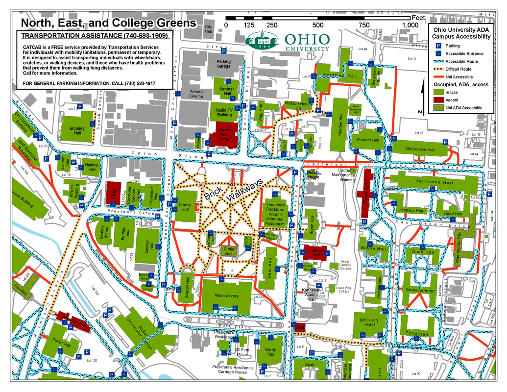Printable Map Ohio University Accessibility Maps